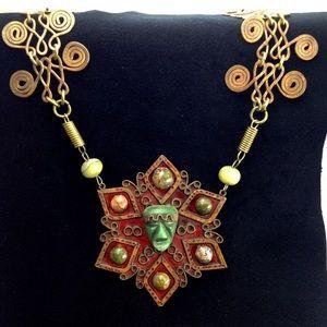 Vintage Aztec Carved Head Statement Necklace